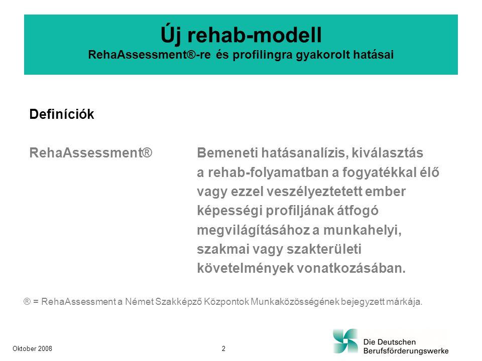"""Új rehab-modell RehaAssessment®-re és profilingra gyakorolt hatásai Definíciók ProfilingTágabb értelemben, az assessmenthez hasonló fogalom vagy szinoníma Szűkebb értelemben, Screening-eljárás az egyéni és szakmai képességek és kompetenciák kiderítéséhez A szakképző központoknál egy folyamat-profiling mint """"lefolyás-assessment Oktober 20083"""