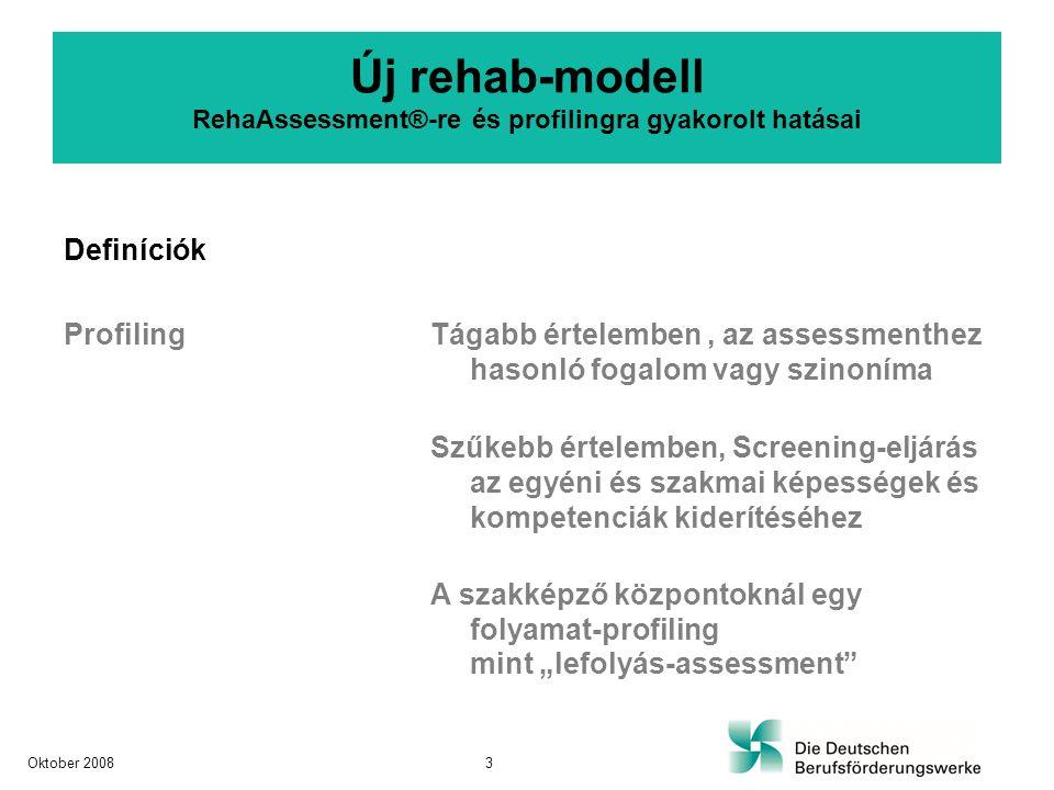 Célcsoportok Eddig Rehabilitáltak a teljes szakképzésre fókuszálva Új + idősebb rehabilitáltak + kevésbé szakképzett rehabilitáltak + hosszú ideje állástalanok közvetítési akadályokkal + csökkent vagy megváltozott teljesítményűek + fiatalok Új rehab-modell RehaAssessment®-re és profilingra gyakorolt hatásai Oktober 20084