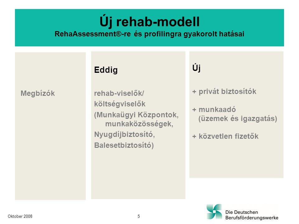 Megbízók Eddig rehab-viselők/ költségviselők (Munkaügyi Központok, munkaközösségek, Nyugdíjbiztosító, Balesetbiztosító) Új + privát biztosítók + munkaadó (üzemek és igazgatás) + közvetlen fizetők Új rehab-modell RehaAssessment®-re és profilingra gyakorolt hatásai Oktober 20085
