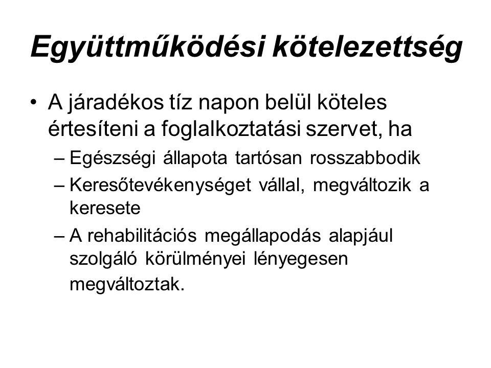 Együttműködési kötelezettség A járadékos tíz napon belül köteles értesíteni a foglalkoztatási szervet, ha –Egészségi állapota tartósan rosszabbodik –K