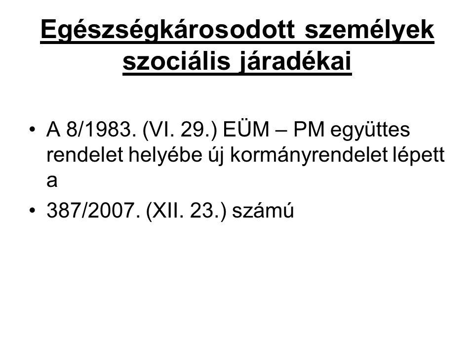 Egészségkárosodott személyek szociális járadékai A 8/1983. (VI. 29.) EÜM – PM együttes rendelet helyébe új kormányrendelet lépett a 387/2007. (XII. 23