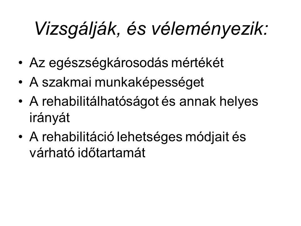 Vizsgálják, és véleményezik: Az egészségkárosodás mértékét A szakmai munkaképességet A rehabilitálhatóságot és annak helyes irányát A rehabilitáció lehetséges módjait és várható időtartamát