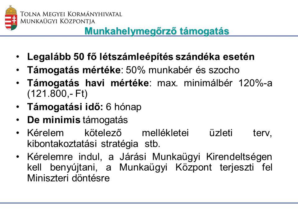 Legalább 50 fő létszámleépítés szándéka esetén Támogatás mértéke: 50% munkabér és szocho Támogatás havi mértéke: max. minimálbér 120%-a (121.800,- Ft)