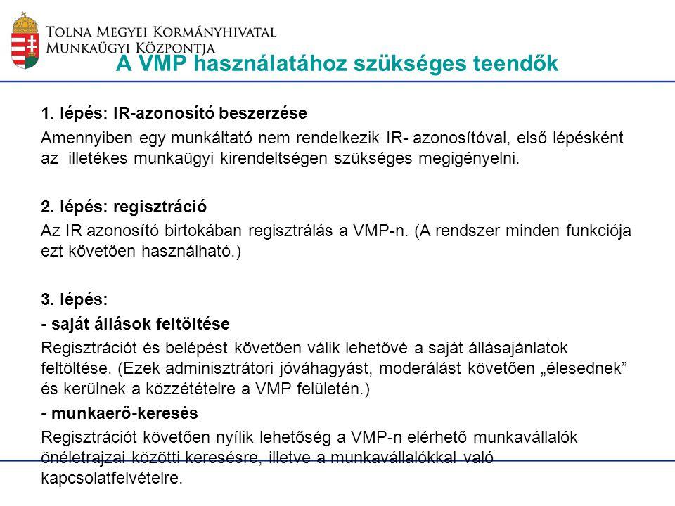 A VMP használatához szükséges teendők 1. lépés: IR-azonosító beszerzése Amennyiben egy munkáltató nem rendelkezik IR- azonosítóval, első lépésként az