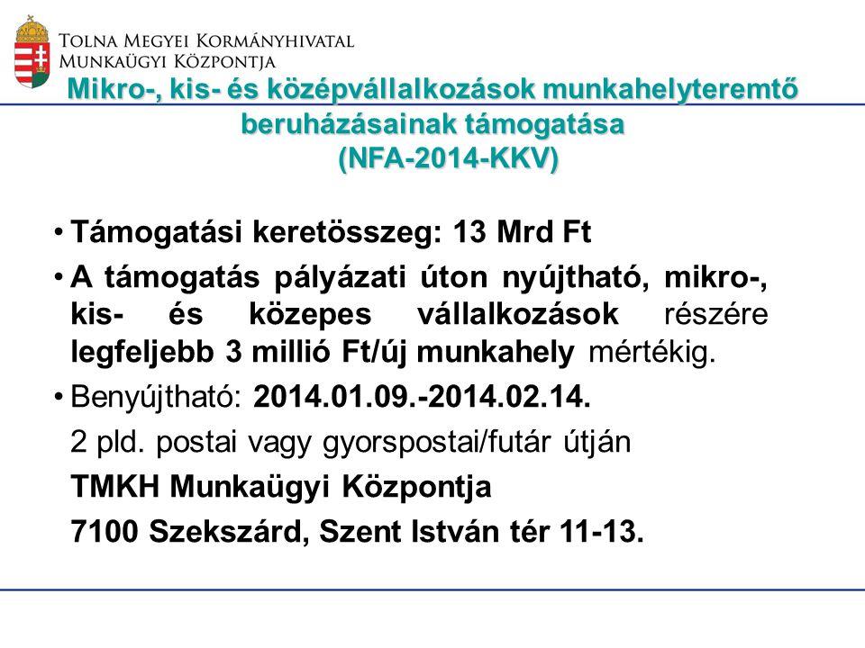 Mikro-, kis- és középvállalkozások munkahelyteremtő beruházásainak támogatása (NFA-2014-KKV) Támogatási keretösszeg: 13 Mrd Ft A támogatás pályázati ú