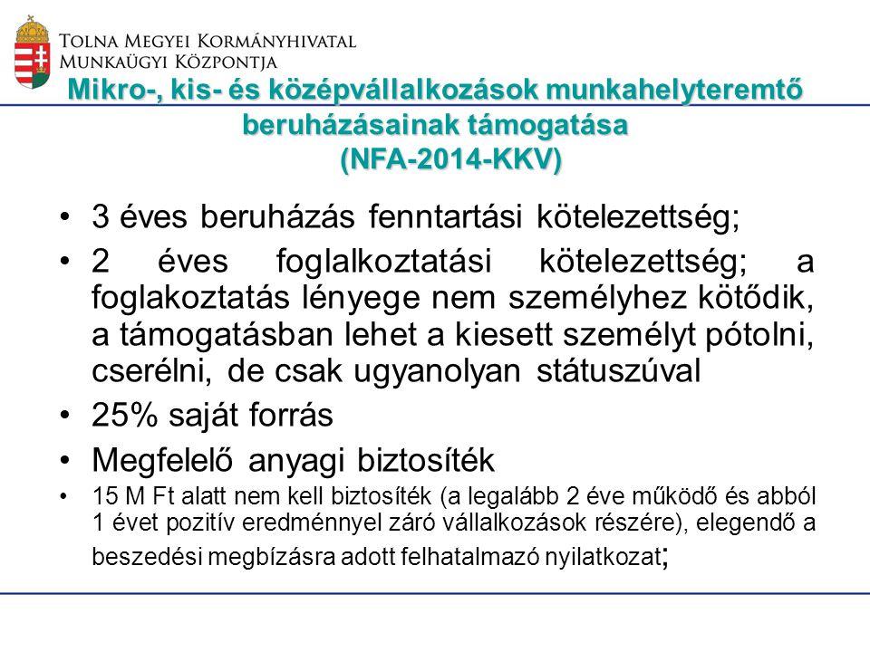 Mikro-, kis- és középvállalkozások munkahelyteremtő beruházásainak támogatása (NFA-2014-KKV) 3 éves beruházás fenntartási kötelezettség; 2 éves foglal
