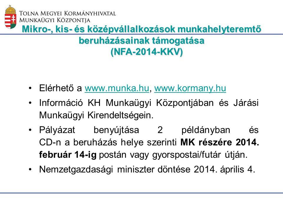 Elérhető a www.munka.hu, www.kormany.huwww.munka.huwww.kormany.hu Információ KH Munkaügyi Központjában és Járási Munkaügyi Kirendeltségein. Pályázat b