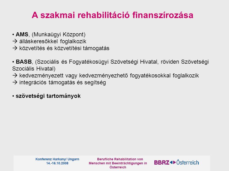 A szakmai rehabilitáció finanszírozása AMS, (Munkaügyi Központ)  álláskeresőkkel foglalkozik  közvetítés és közvetítési támogatás BASB, (Szociális é