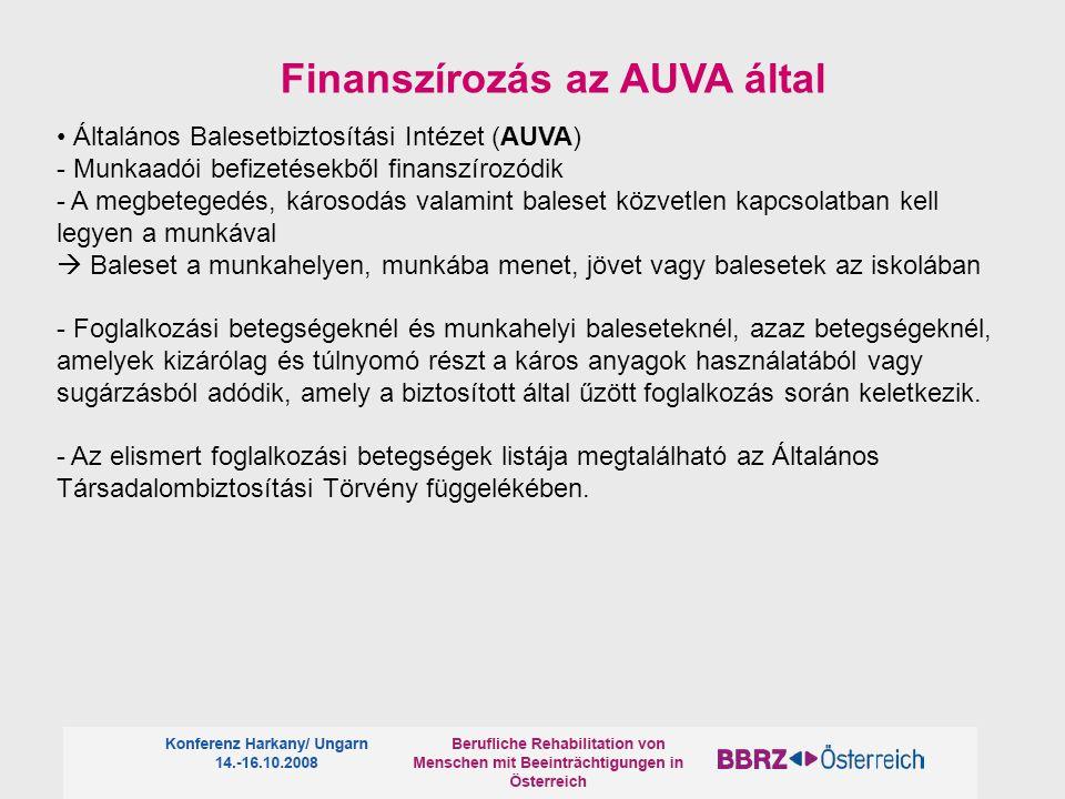Általános Balesetbiztosítási Intézet (AUVA) - Munkaadói befizetésekből finanszírozódik - A megbetegedés, károsodás valamint baleset közvetlen kapcsolatban kell legyen a munkával  Baleset a munkahelyen, munkába menet, jövet vagy balesetek az iskolában - Foglalkozási betegségeknél és munkahelyi baleseteknél, azaz betegségeknél, amelyek kizárólag és túlnyomó részt a káros anyagok használatából vagy sugárzásból adódik, amely a biztosított által űzött foglalkozás során keletkezik.