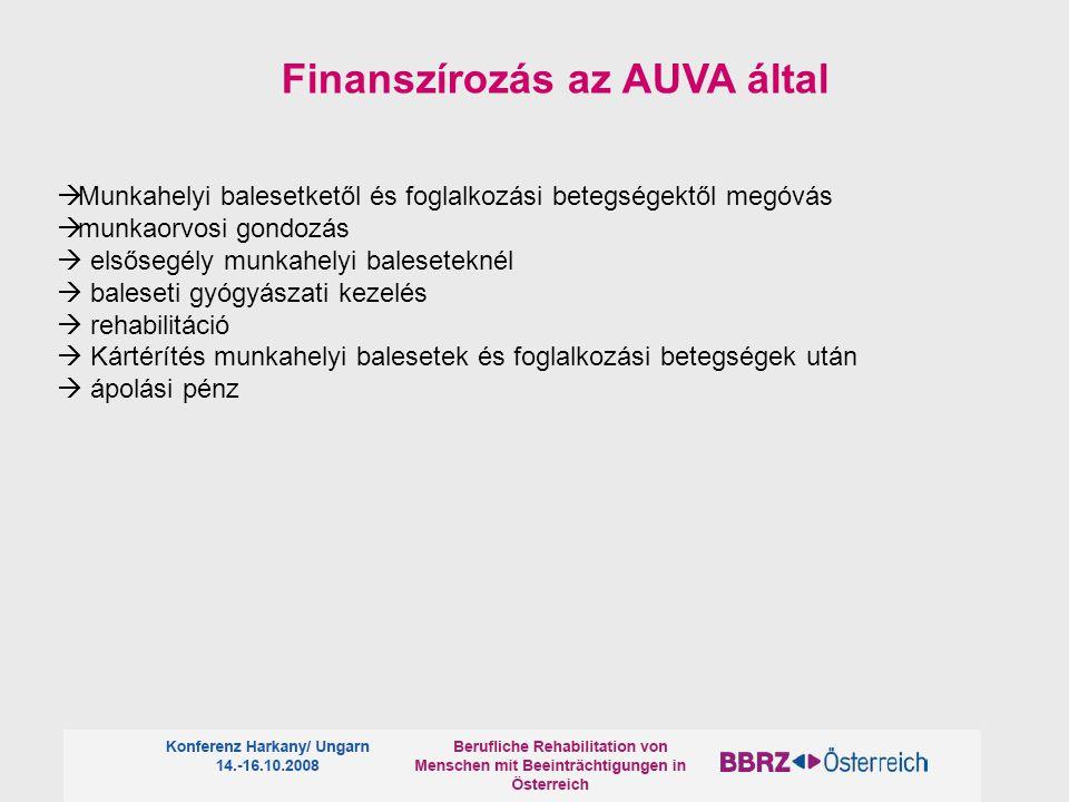  Munkahelyi balesetketől és foglalkozási betegségektől megóvás  munkaorvosi gondozás  elsősegély munkahelyi baleseteknél  baleseti gyógyászati kezelés  rehabilitáció  Kártérítés munkahelyi balesetek és foglalkozási betegségek után  ápolási pénz Finanszírozás az AUVA által