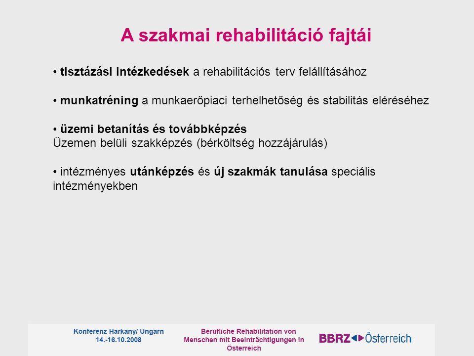 tisztázási intézkedések a rehabilitációs terv felállításához munkatréning a munkaerőpiaci terhelhetőség és stabilitás eléréséhez üzemi betanítás és továbbképzés Üzemen belüli szakképzés (bérköltség hozzájárulás) intézményes utánképzés és új szakmák tanulása speciális intézményekben A szakmai rehabilitáció fajtái