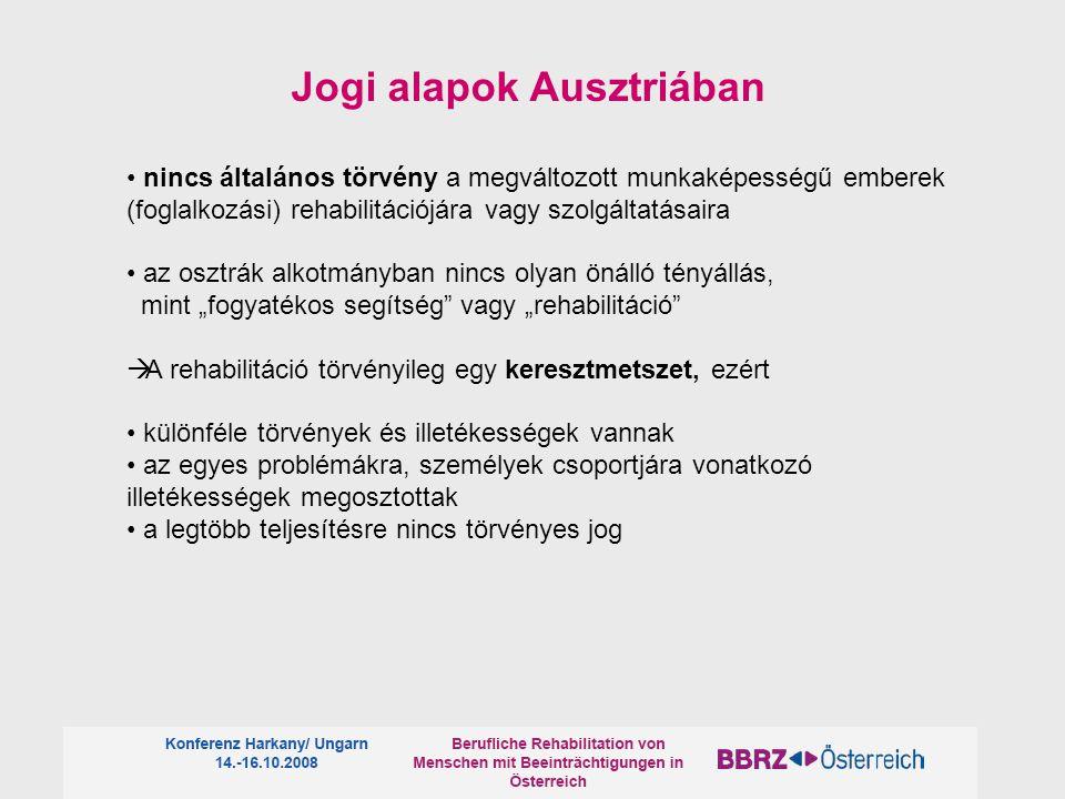 """Jogi alapok Ausztriában nincs általános törvény a megváltozott munkaképességű emberek (foglalkozási) rehabilitációjára vagy szolgáltatásaira az osztrák alkotmányban nincs olyan önálló tényállás, mint """"fogyatékos segítség vagy """"rehabilitáció  A rehabilitáció törvényileg egy keresztmetszet, ezért különféle törvények és illetékességek vannak az egyes problémákra, személyek csoportjára vonatkozó illetékességek megosztottak a legtöbb teljesítésre nincs törvényes jog"""