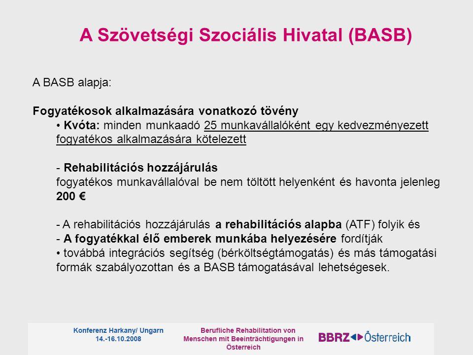 A BASB alapja: Fogyatékosok alkalmazására vonatkozó tövény Kvóta: minden munkaadó 25 munkavállalóként egy kedvezményezett fogyatékos alkalmazására köt
