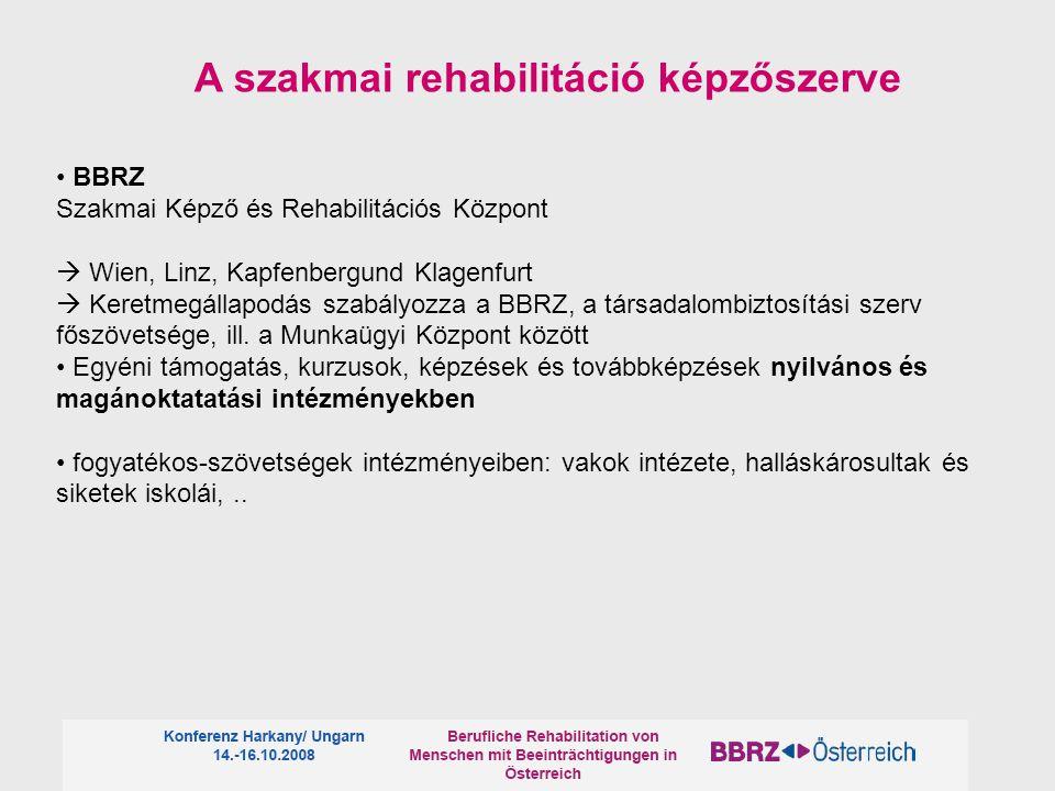 BBRZ Szakmai Képző és Rehabilitációs Központ  Wien, Linz, Kapfenbergund Klagenfurt  Keretmegállapodás szabályozza a BBRZ, a társadalombiztosítási szerv főszövetsége, ill.