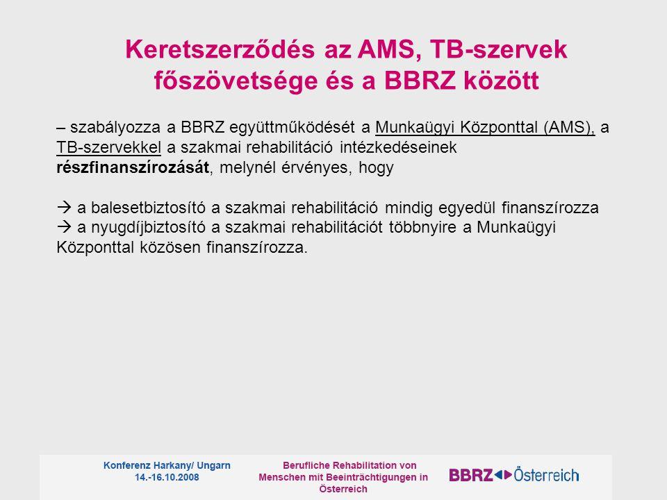 – szabályozza a BBRZ együttműködését a Munkaügyi Központtal (AMS), a TB-szervekkel a szakmai rehabilitáció intézkedéseinek részfinanszírozását, melynél érvényes, hogy  a balesetbiztosító a szakmai rehabilitáció mindig egyedül finanszírozza  a nyugdíjbiztosító a szakmai rehabilitációt többnyire a Munkaügyi Központtal közösen finanszírozza.