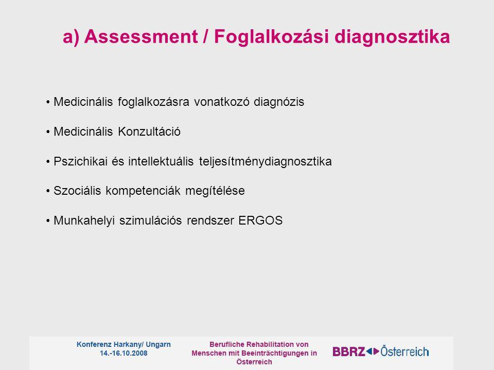 Medicinális foglalkozásra vonatkozó diagnózis Medicinális Konzultáció Pszichikai és intellektuális teljesítménydiagnosztika Szociális kompetenciák megítélése Munkahelyi szimulációs rendszer ERGOS a) Assessment / Foglalkozási diagnosztika