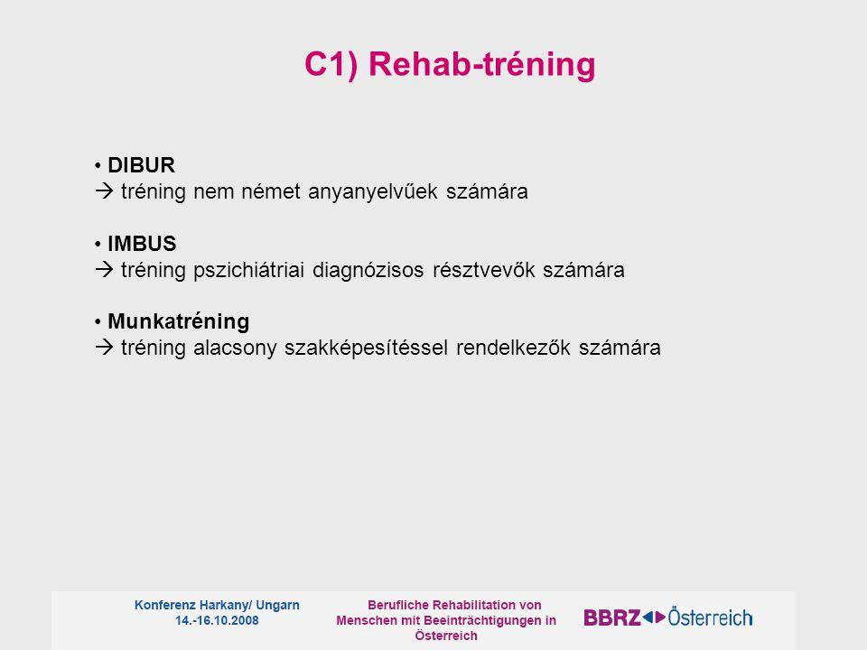DIBUR  tréning nem német anyanyelvűek számára IMBUS  tréning pszichiátriai diagnózisos résztvevők számára Munkatréning  tréning alacsony szakképesítéssel rendelkezők számára C1) Rehab-tréning
