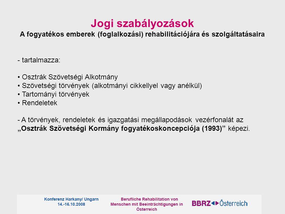 Jogi szabályozások A fogyatékos emberek (foglalkozási) rehabilitációjára és szolgáltatásaira - tartalmazza: Osztrák Szövetségi Alkotmány Szövetségi tö