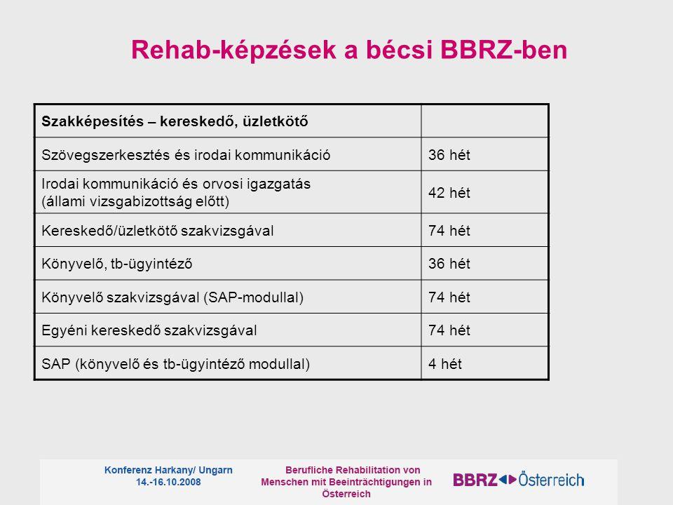 Rehab-képzések a bécsi BBRZ-ben Szakképesítés – kereskedő, üzletkötő Szövegszerkesztés és irodai kommunikáció36 hét Irodai kommunikáció és orvosi igazgatás (állami vizsgabizottság előtt) 42 hét Kereskedő/üzletkötő szakvizsgával74 hét Könyvelő, tb-ügyintéző36 hét Könyvelő szakvizsgával (SAP-modullal)74 hét Egyéni kereskedő szakvizsgával74 hét SAP (könyvelő és tb-ügyintéző modullal)4 hét