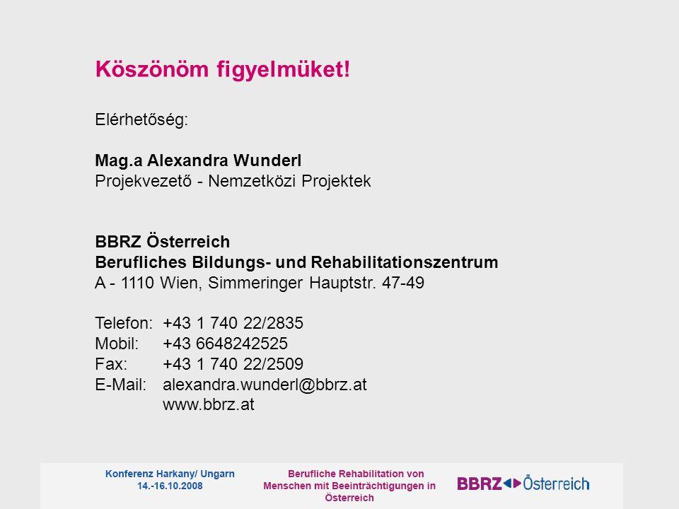 Köszönöm figyelmüket! Elérhetőség: Mag.a Alexandra Wunderl Projekvezető - Nemzetközi Projektek BBRZ Österreich Berufliches Bildungs- und Rehabilitatio