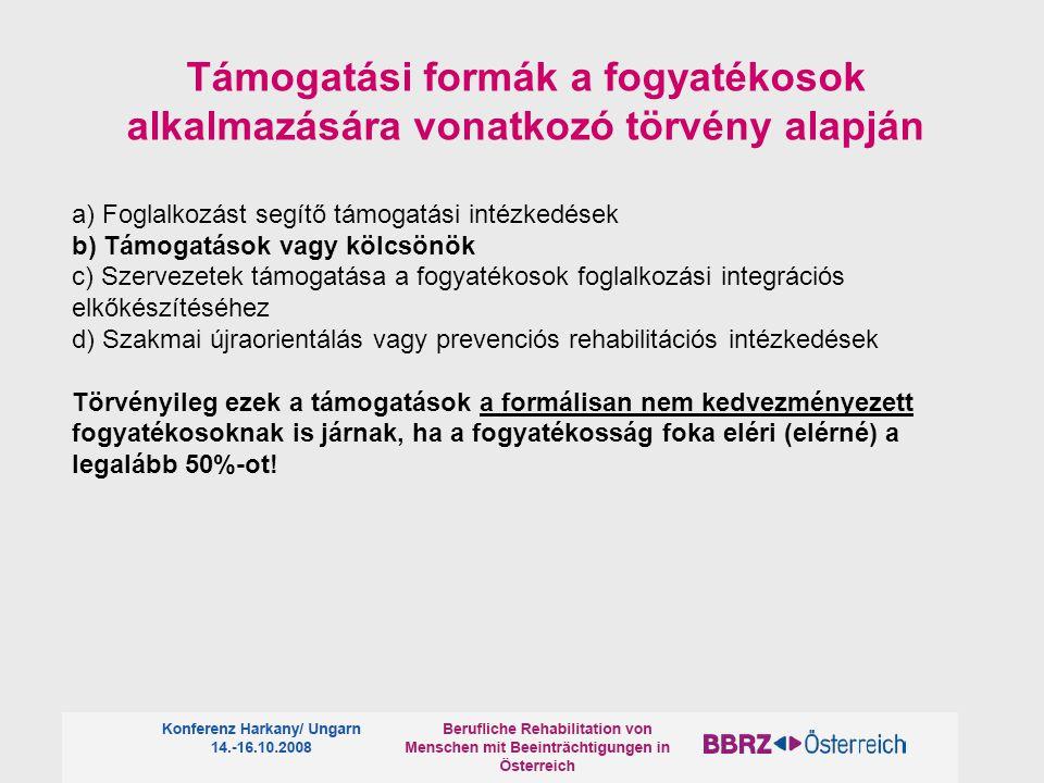 Támogatási formák a fogyatékosok alkalmazására vonatkozó törvény alapján a) Foglalkozást segítő támogatási intézkedések b) Támogatások vagy kölcsönök c) Szervezetek támogatása a fogyatékosok foglalkozási integrációs elkőkészítéséhez d) Szakmai újraorientálás vagy prevenciós rehabilitációs intézkedések Törvényileg ezek a támogatások a formálisan nem kedvezményezett fogyatékosoknak is járnak, ha a fogyatékosság foka eléri (elérné) a legalább 50%-ot!