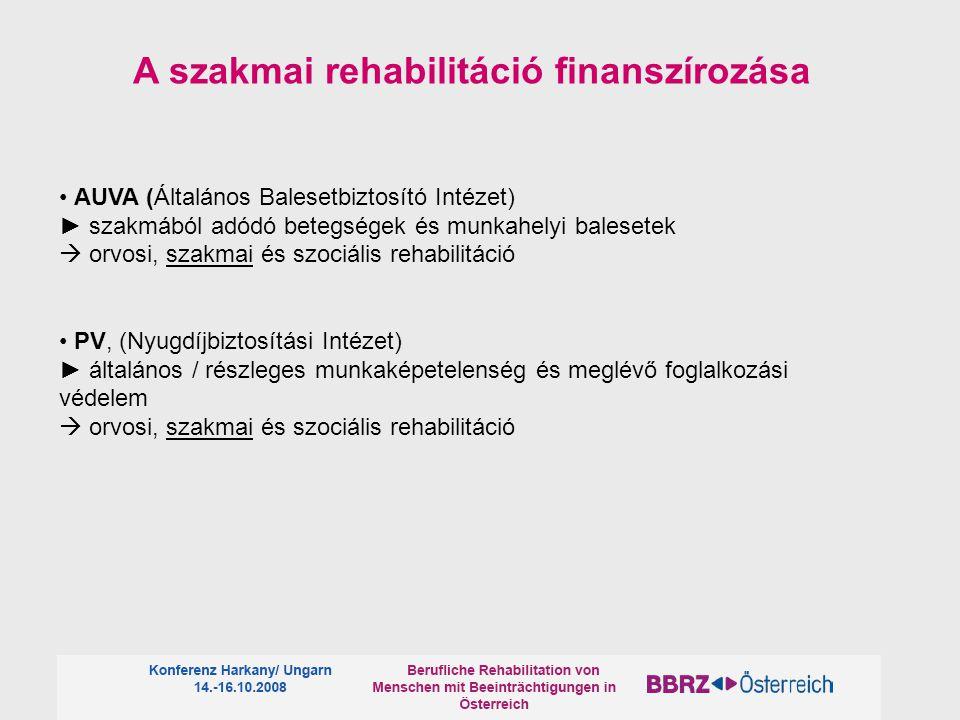 A szakmai rehabilitáció finanszírozása AUVA (Általános Balesetbiztosító Intézet) ► szakmából adódó betegségek és munkahelyi balesetek  orvosi, szakmai és szociális rehabilitáció PV, (Nyugdíjbiztosítási Intézet) ► általános / részleges munkaképetelenség és meglévő foglalkozási védelem  orvosi, szakmai és szociális rehabilitáció