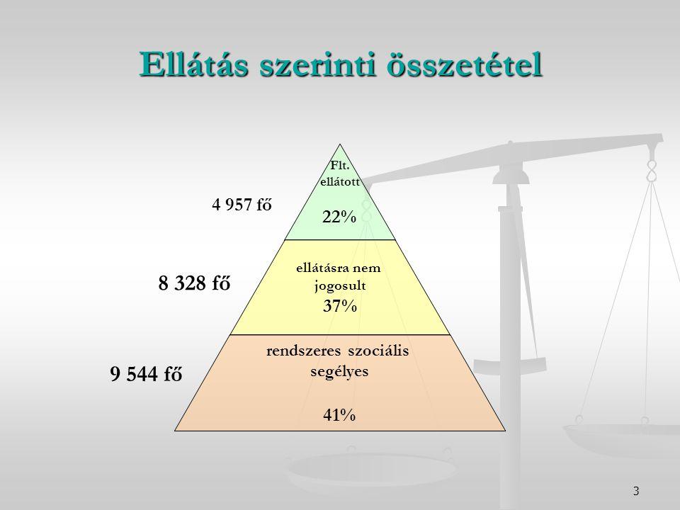 3 Ellátás szerinti összetétel Flt. ellátott 22% ellátásra nem jogosult 37% rendszeres szociális segélyes 41% 4 957 fő 8 328 fő 9 544 fő