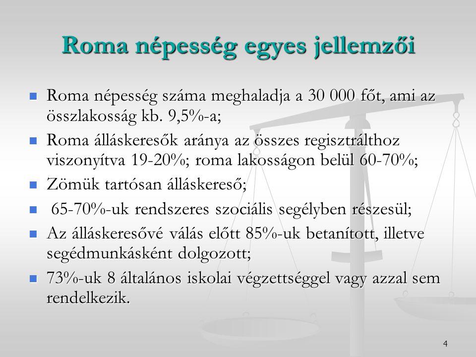 4 Roma népesség egyes jellemzői Roma népesség száma meghaladja a 30 000 főt, ami az összlakosság kb. 9,5%-a; Roma népesség száma meghaladja a 30 000 f