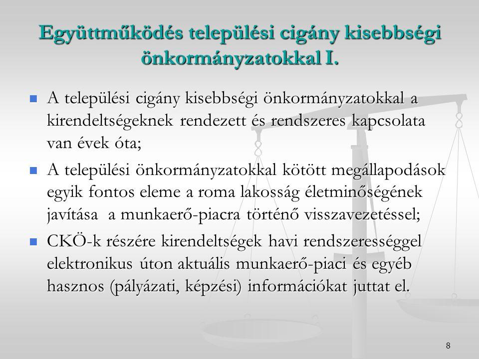8 Együttműködés települési cigány kisebbségi önkormányzatokkal I. A települési cigány kisebbségi önkormányzatokkal a kirendeltségeknek rendezett és re