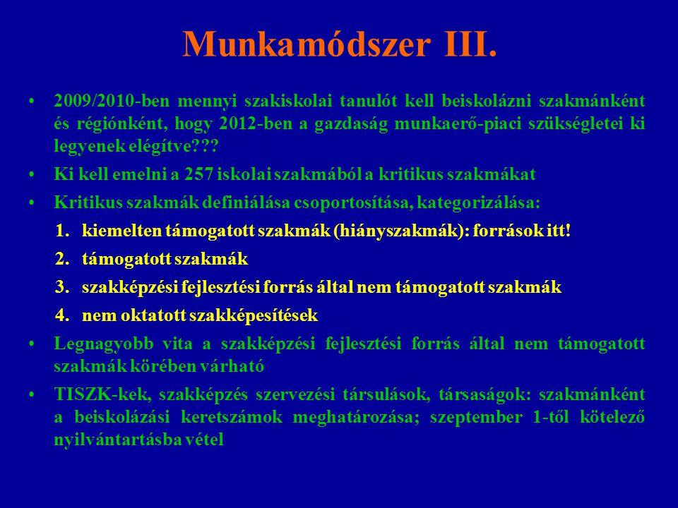Munkamódszer III. 2009/2010-ben mennyi szakiskolai tanulót kell beiskolázni szakmánként és régiónként, hogy 2012-ben a gazdaság munkaerő-piaci szükség