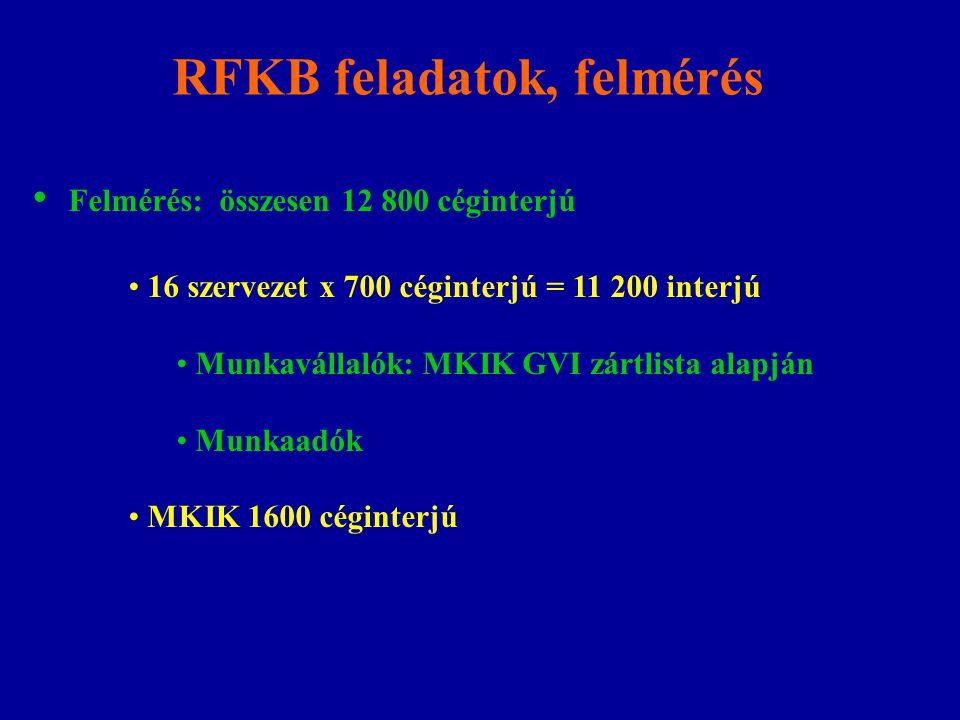 RFKB feladatok, felmérés Felmérés: összesen 12 800 céginterjú 16 szervezet x 700 céginterjú = 11 200 interjú Munkavállalók: MKIK GVI zártlista alapján Munkaadók MKIK 1600 céginterjú