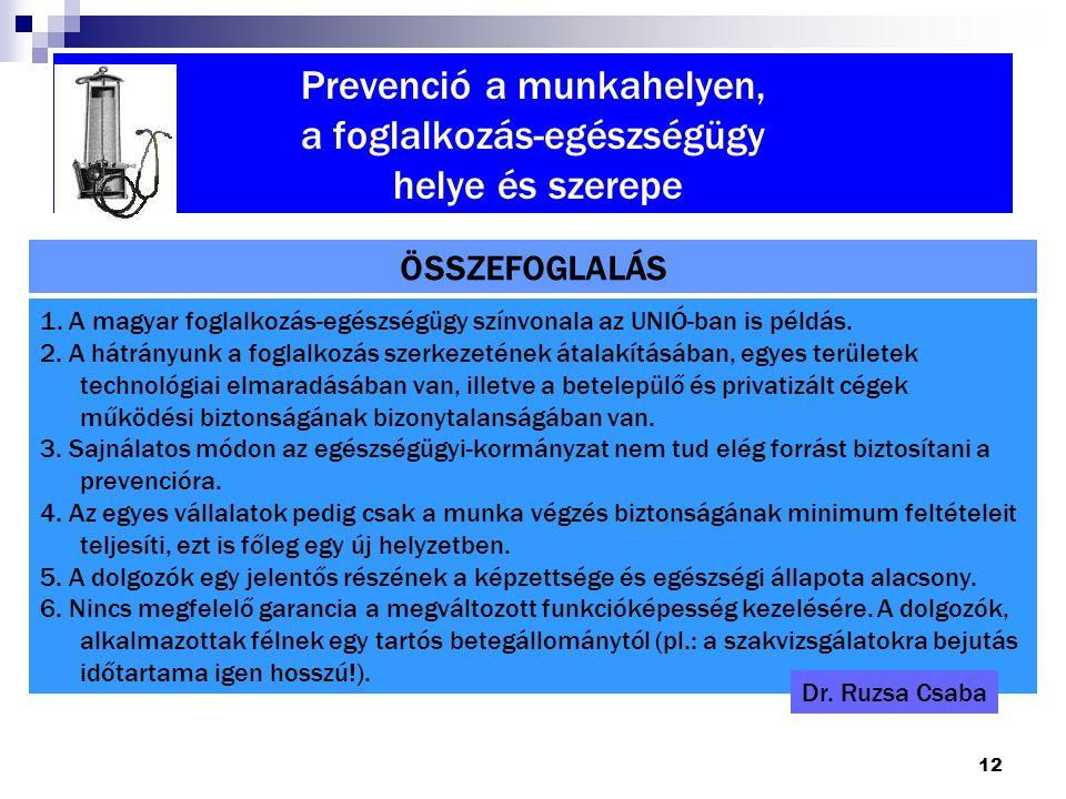 12 Prevenció a munkahelyen, a foglalkozás-egészségügy helye és szerepe ÖSSZEFOGLALÁS 1. A magyar foglalkozás-egészségügy színvonala az UNIÓ-ban is pél