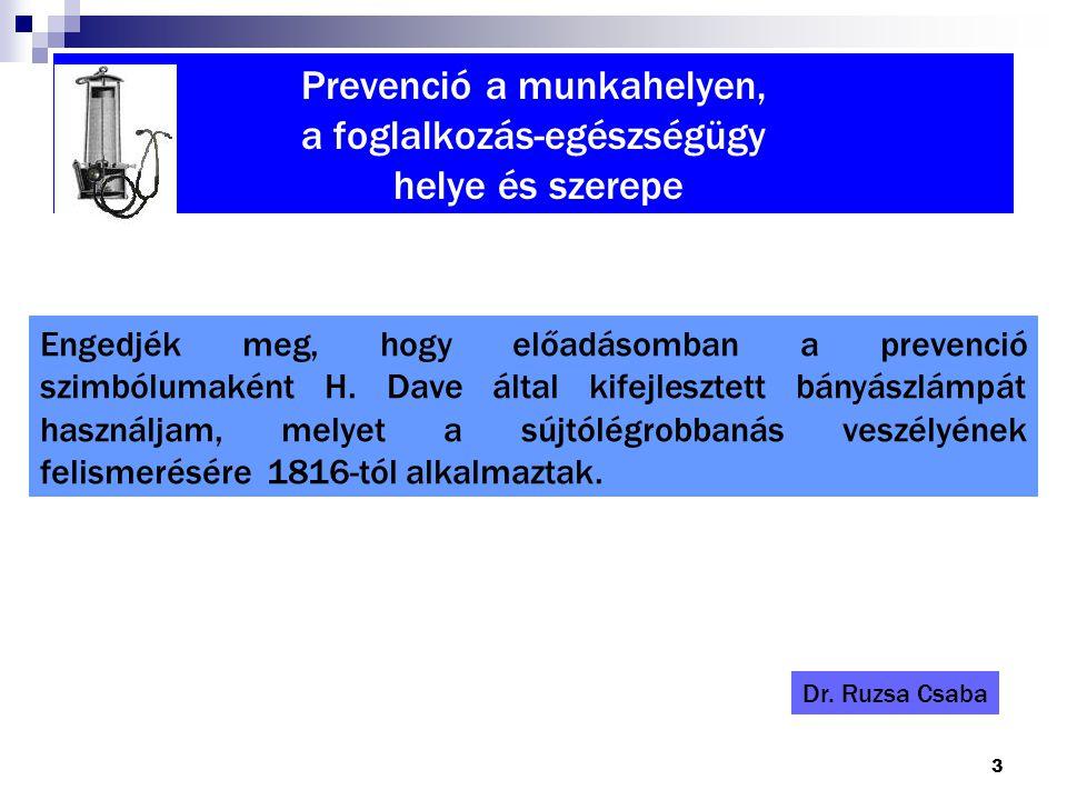 3 Prevenció a munkahelyen, a foglalkozás-egészségügy helye és szerepe Engedjék meg, hogy előadásomban a prevenció szimbólumaként H. Dave által kifejle