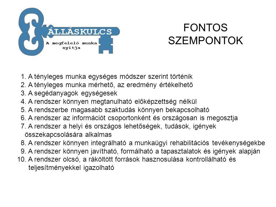 FONTOS SZEMPONTOK 1. A tényleges munka egységes módszer szerint történik 2.