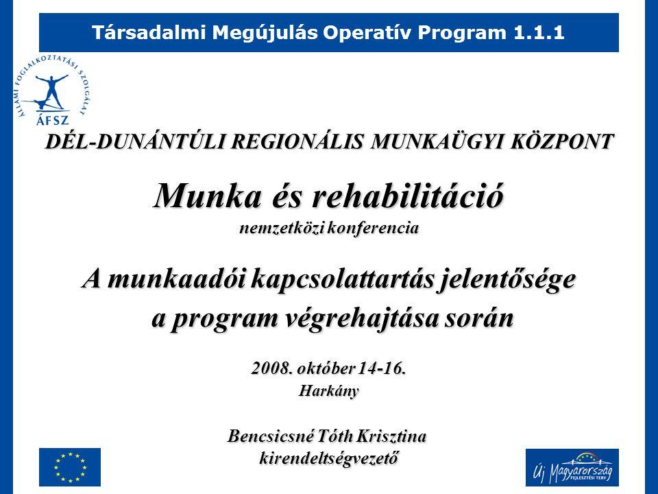 Társadalmi Megújulás Operatív Program 1.1.1 Munka és rehabilitáció nemzetközi konferencia A munkaadói kapcsolattartás jelentősége a program végrehajtása során a program végrehajtása során 2008.