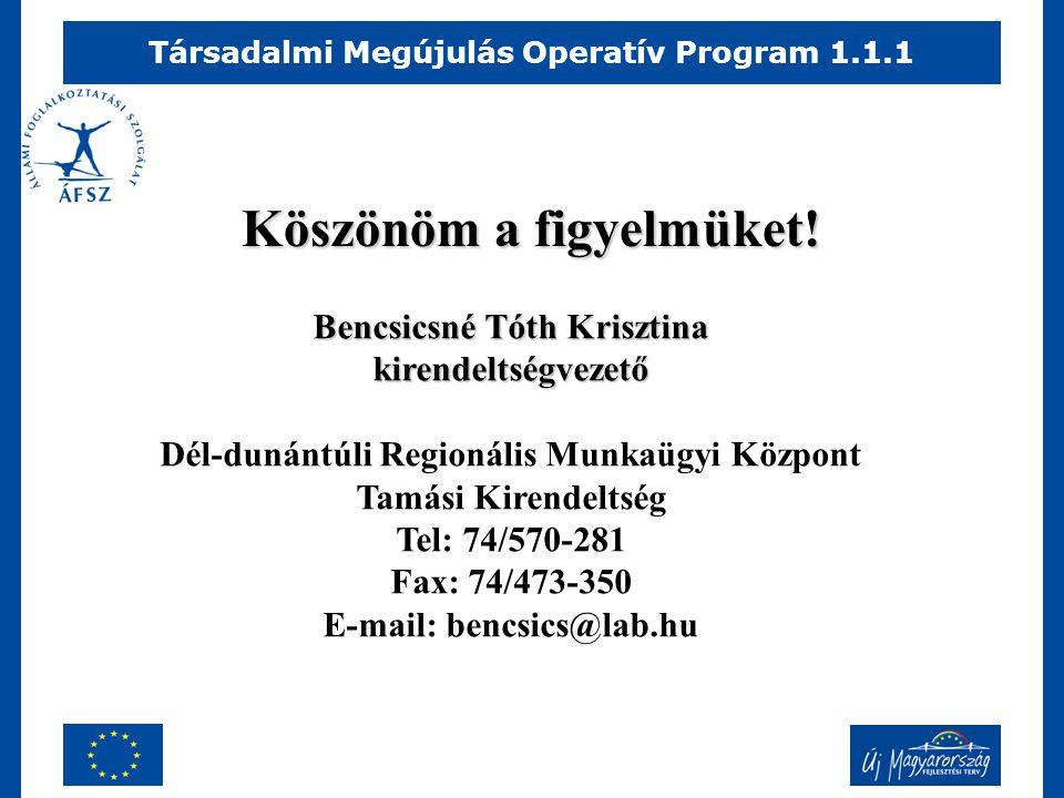 Társadalmi Megújulás Operatív Program 1.1.1 Köszönöm a figyelmüket.