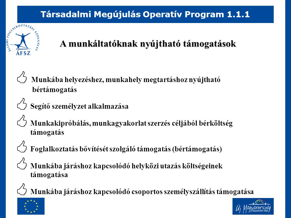 Társadalmi Megújulás Operatív Program 1.1.1 A munkáltatóknak nyújtható támogatások  Munkába helyezéshez, munkahely megtartáshoz nyújtható bértámogatás  Segítő személyzet alkalmazása  Munkakipróbálás, munkagyakorlat szerzés céljából bérköltség támogatás  Foglalkoztatás bővítését szolgáló támogatás (bértámogatás)  Munkába járáshoz kapcsolódó helyközi utazás költségeinek támogatása  Munkába járáshoz kapcsolódó csoportos személyszállítás támogatása
