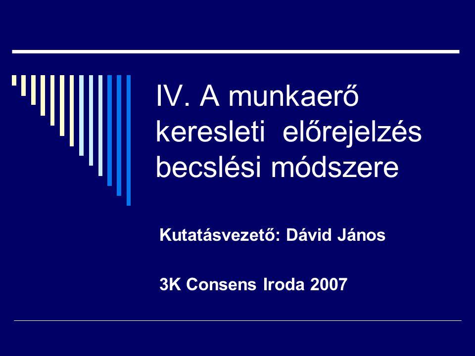 IV. A munkaerő keresleti előrejelzés becslési módszere Kutatásvezető: Dávid János 3K Consens Iroda 2007