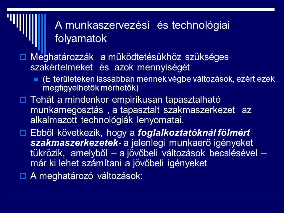 A munkaszervezési és technológiai folyamatok  Meghatározzák a működtetésükhöz szükséges szakértelmeket és azok mennyiségét (E területeken lassabban mennek végbe változások, ezért ezek megfigyelhetők mérhetők)  Tehát a mindenkor empirikusan tapasztalható munkamegosztás, a tapasztalt szakmaszerkezet az alkalmazott technológiák lenyomatai.