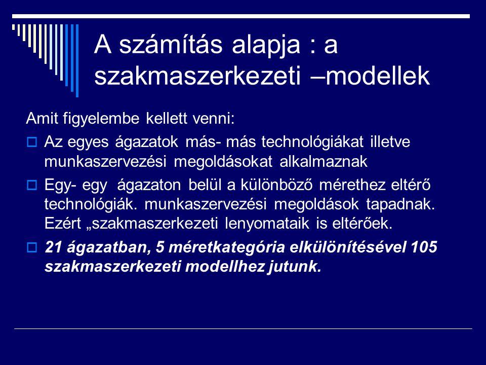 A számítás alapja : a szakmaszerkezeti –modellek Amit figyelembe kellett venni:  Az egyes ágazatok más- más technológiákat illetve munkaszervezési megoldásokat alkalmaznak  Egy- egy ágazaton belül a különböző mérethez eltérő technológiák.