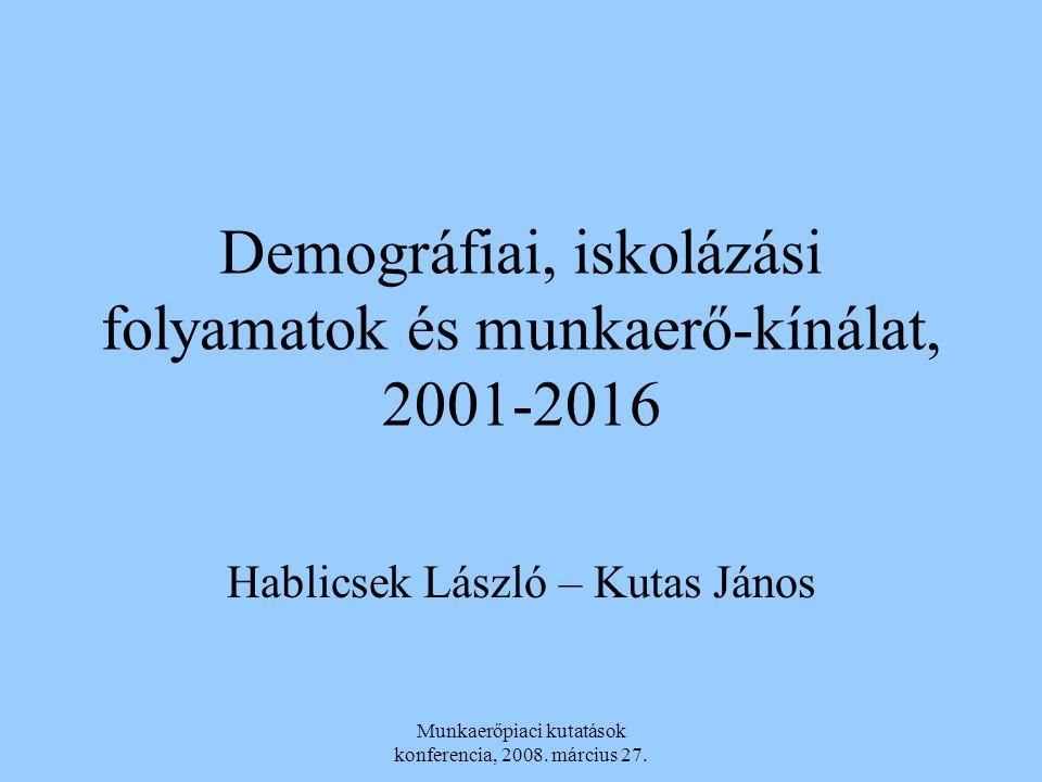 Munkaerőpiaci kutatások konferencia, 2008. március 27. Demográfiai, iskolázási folyamatok és munkaerő-kínálat, 2001-2016 Hablicsek László – Kutas Jáno