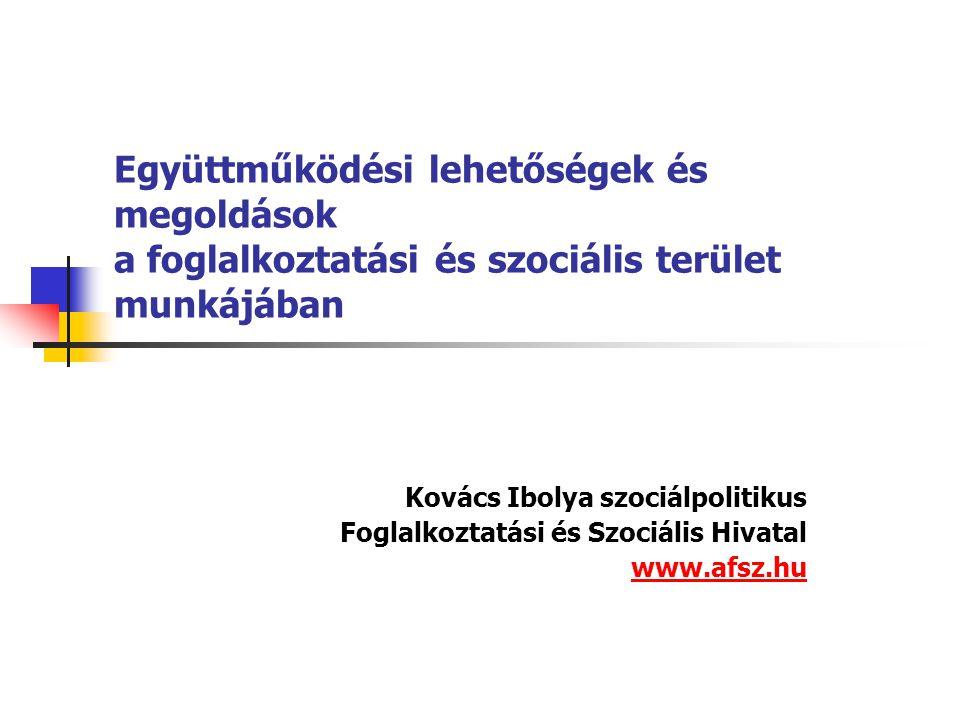 Együttműködési lehetőségek és megoldások a foglalkoztatási és szociális terület munkájában Kovács Ibolya szociálpolitikus Foglalkoztatási és Szociális Hivatal www.afsz.hu