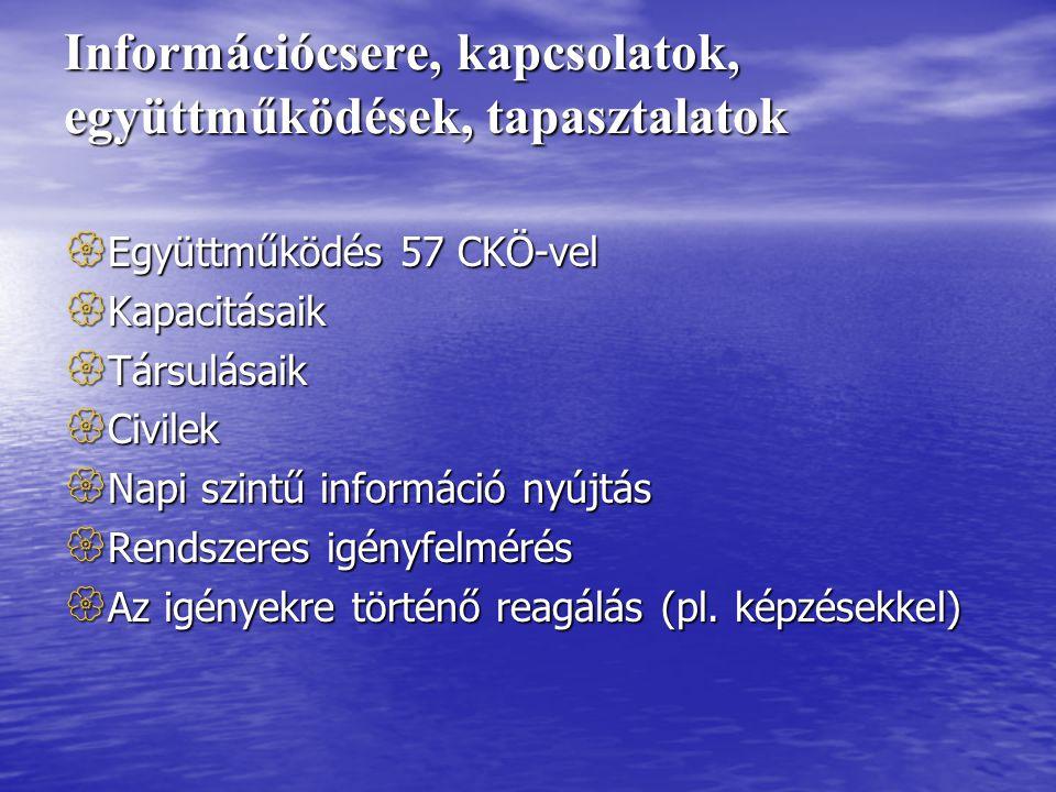 Információcsere, kapcsolatok, együttműködések, tapasztalatok  Együttműködés 57 CKÖ-vel  Kapacitásaik  Társulásaik  Civilek  Napi szintű információ nyújtás  Rendszeres igényfelmérés  Az igényekre történő reagálás (pl.