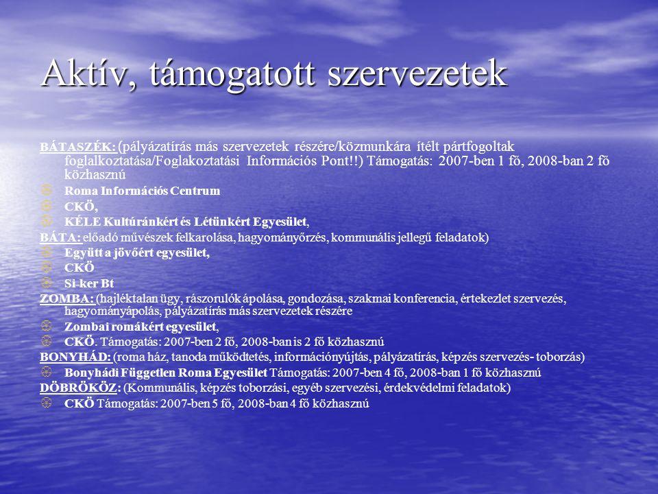 Aktív, támogatott szervezetek BÁTASZÉK: ( pályázatírás más szervezetek részére/közmunkára ítélt pártfogoltak foglalkoztatása/Foglakoztatási Információs Pont!!) Támogatás: 2007-ben 1 fő, 2008-ban 2 fő közhasznú   Roma Információs Centrum   CKÖ,   KÉLE Kultúránkért és Létünkért Egyesület, BÁTA: előadó művészek felkarolása, hagyományőrzés, kommunális jellegű feladatok)   Együtt a jövőért egyesület,   CKÖ   Si-ker Bt ZOMBA: (hajléktalan ügy, rászorulók ápolása, gondozása, szakmai konferencia, értekezlet szervezés, hagyományápolás, pályázatírás más szervezetek részére   Zombai romákért egyesület,   CKÖ.