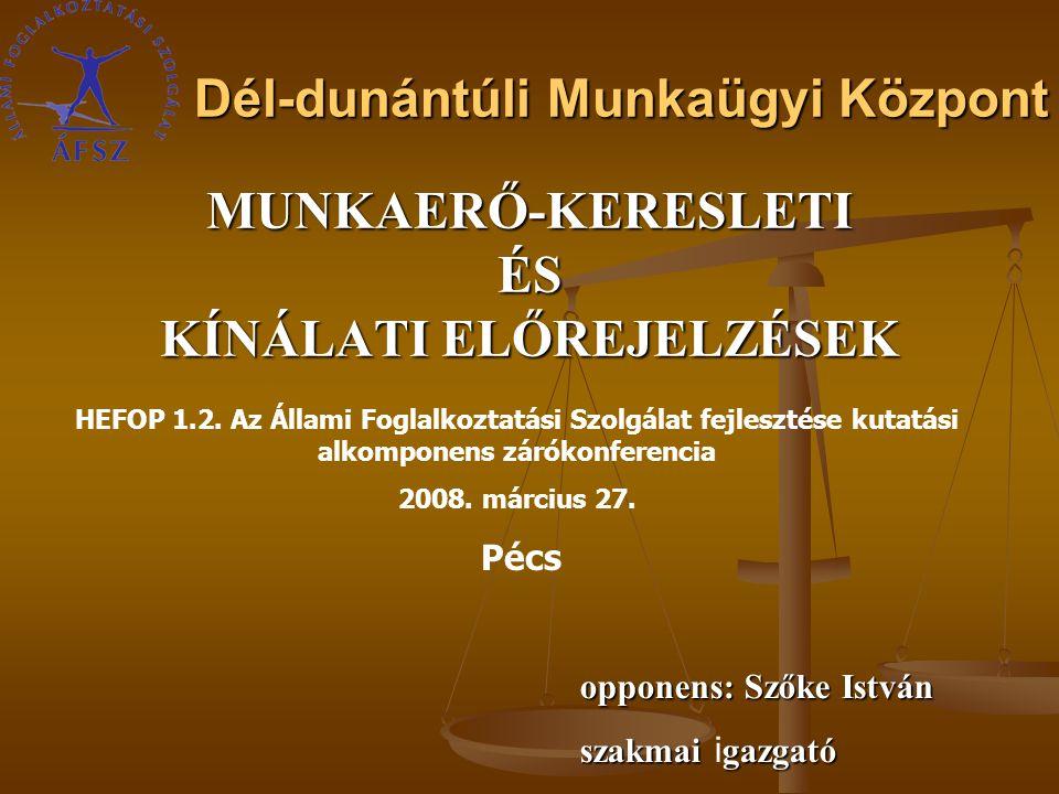 Dél-dunántúli Munkaügyi Központ MUNKAERŐ-KERESLETIÉS KÍNÁLATI ELŐREJELZÉSEK HEFOP 1.2.