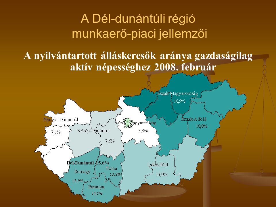 A nyilvántartott álláskeresők aránya gazdaságilag aktív népességhez 2008. február
