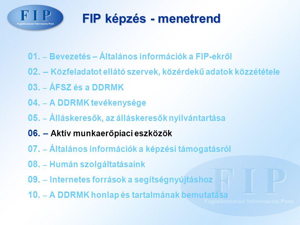 FIP képzés - menetrend 01. – Bevezetés – Általános információk a FIP-ekről 02. – Közfeladatot ellátó szervek, közérdekű adatok közzététele 03. – ÁFSZ
