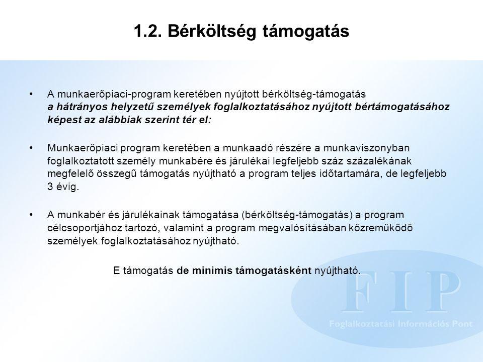 1.2. Bérköltség támogatás A munkaerőpiaci-program keretében nyújtott bérköltség-támogatás a hátrányos helyzetű személyek foglalkoztatásához nyújtott b