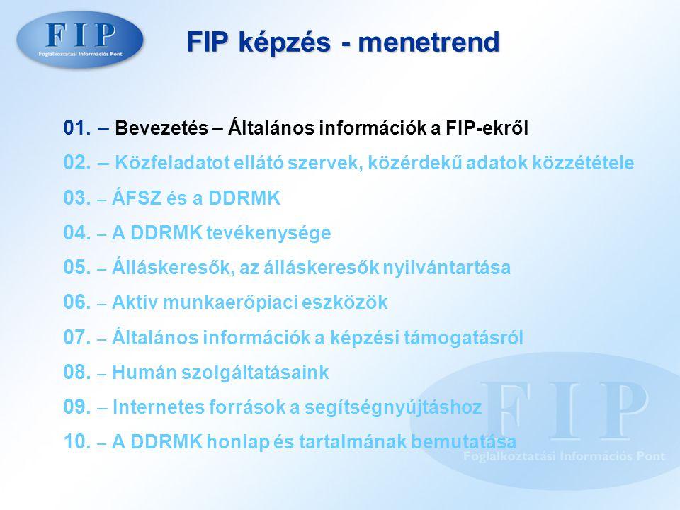 FIP képzés - menetrend 01. – Bevezetés – Általános információk a FIP-ekről 02.