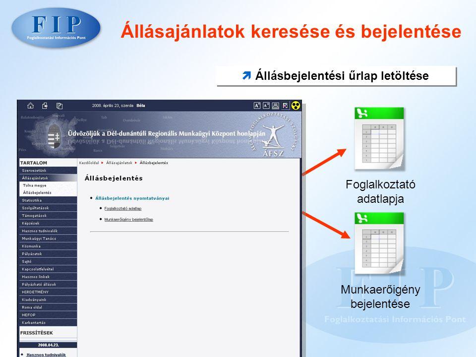 Támogatások Támogatási formák álláskeresőknek és munkáltatóknak  Tájékoztatók  Kérelmek  Táblázatok